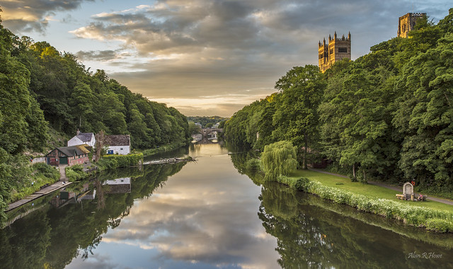Durham Cathedral overlooking the banks of the River wear ,with the lush green Trees
