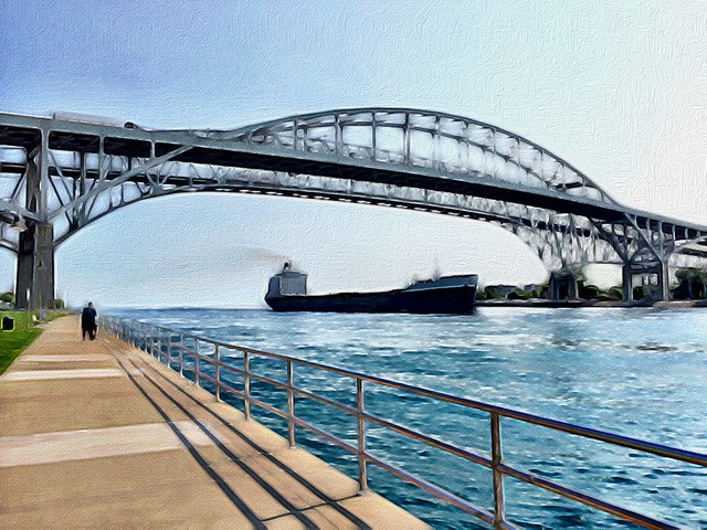 Blue Water Bridge with Freighter