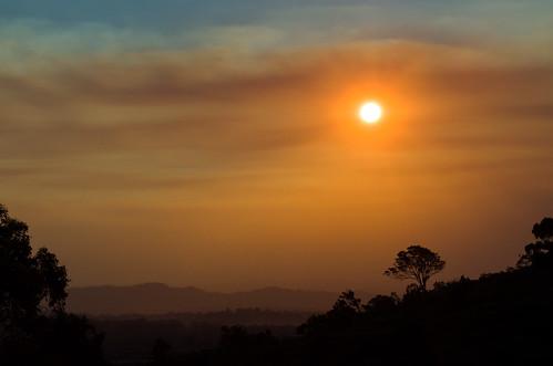 sunset bushfire mountannan