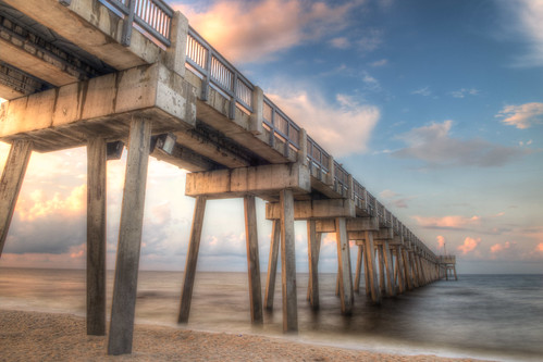 morning beach gulfofmexico sunrise pier nikon cloudy sunny fl pcb panamacitybeach d800 panamacitybeachfl bryanjaronik