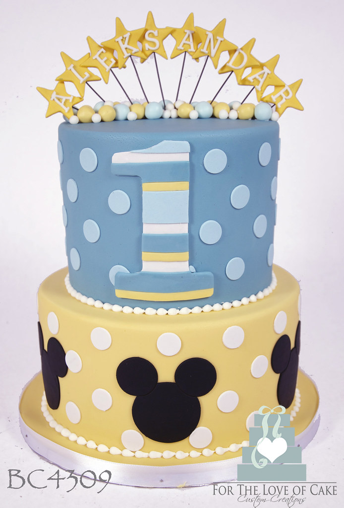 Marvelous Bc4309 Baby Mickey Mouse Cake Toronto Bc4309 2 Tier Blue A Flickr Personalised Birthday Cards Sponlily Jamesorg