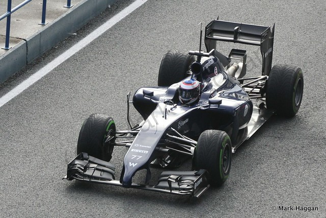 Valtteri Bottas in his Williams during Formula One Winter Testing 2014