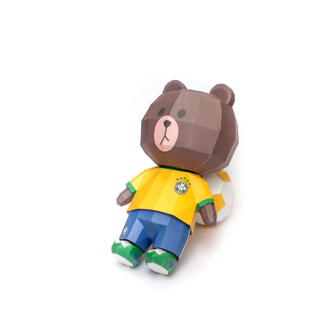 LINE Brown Bear in FIFA World Cup 2014 Brazil Uniform Papercraft Model Finished 003