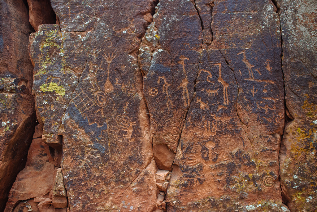Light orange geometric and bird petroglyphs on a dark brown rock face