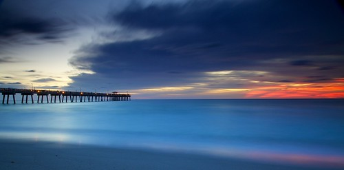 blue red colors sunrise pier long exposure florida flordia colros