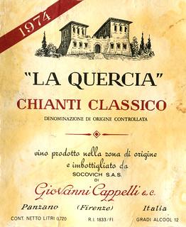 """Italy - Chianti """"La Quercia"""" 1974"""