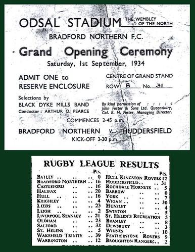 1st September 1934 - Odsal Stadium Opening Ceremony   by Bradford Timeline