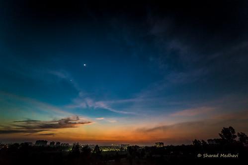 blue sunset orange cloud moon india nature star evening bangalore 150 moonset 14mm explored canoneos5dmarkiii samyangrokinonvivitar1428lens