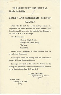 GNR purchase of Ramsey & Somersham Railway small letter 1897   by ian.dinmore