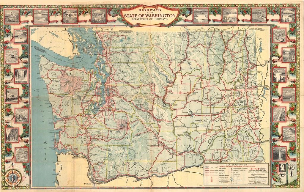 1944 Washington State Tourist Map   Washington State Dept of ...