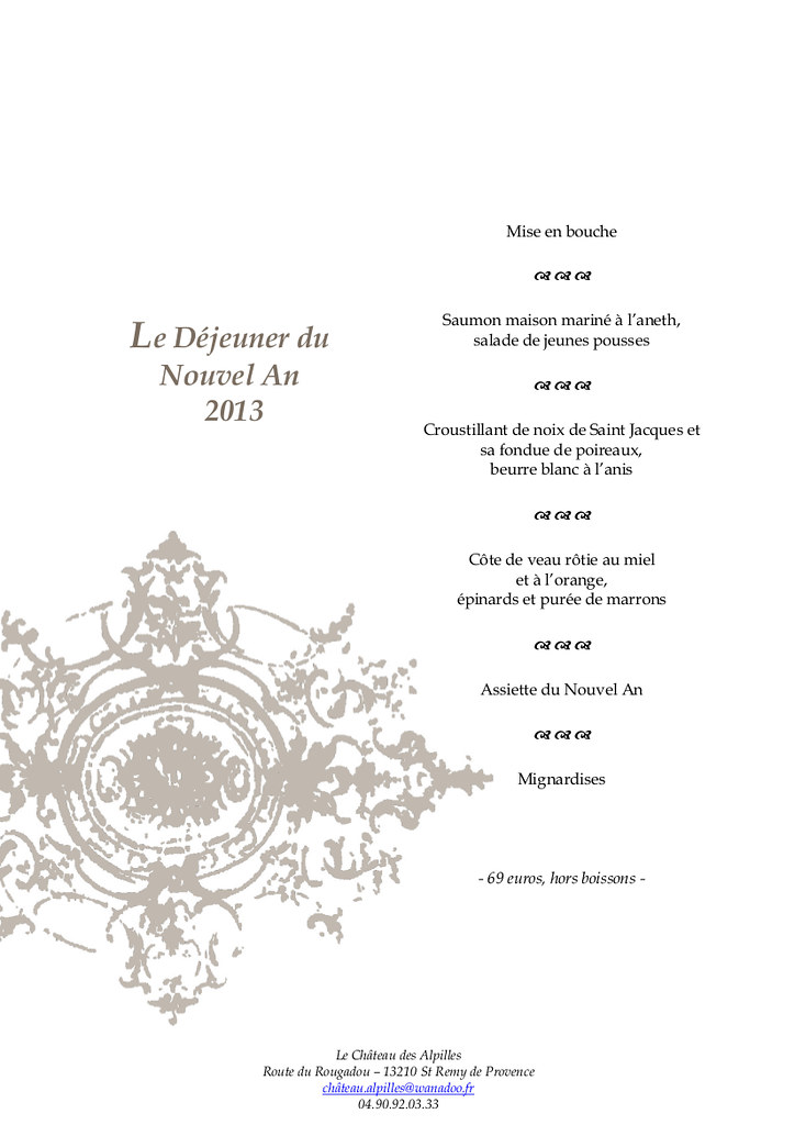 Menu Reveillon De Noel.Menus Noel Reveillon Saint Remy De Provence Restaurant C