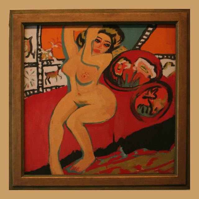 Ernst Ludwig Kirchner (1880-1938) Sitzender Akt mit erhobenen Armen/Seated Nude with Raised Arms 1910/1926, Öl auf Leinwand