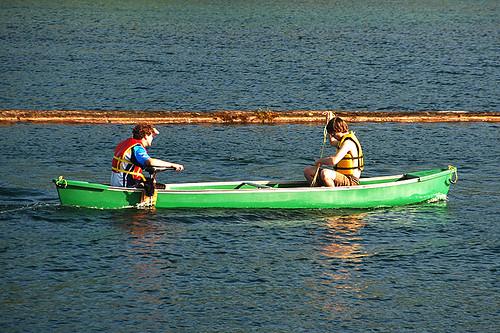 Canoeing on Cowichan Lake in Lake Cowichan, Cowichan Valley, Vancouver Island, British Columbia