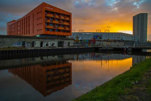 groningen outdoor water oranje hetekolen euroborg reflectie sunrise zonsopgang