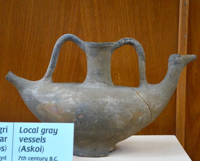 Local gray-ware bird askos from Tenedos