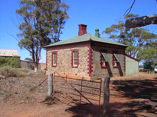 Mount Bryan East state school built in 1884.To the left is the 1913 Methodist Church.  Sir Hubert Wilkins attended school here. So this school on the edge of Goyders Line has a link to the Arctic and the Antarctic. Closed 1945. Now a Youth Hostel on