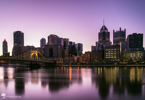 city longexposure bridge pink reflection skyline sunrise nikon downtown pittsburgh glow cityscape purple pennsylvania steelbuilding northshore alleghenyriver ndfilter highmark neutraldensity upmc 10stop klgates