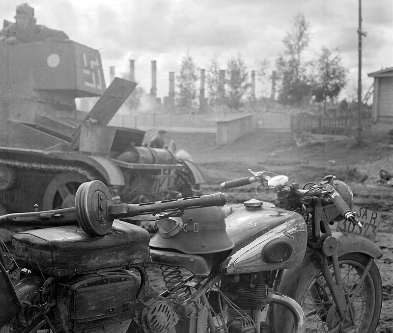 Finnish T-26E light infantry tank and NSU motorcycle