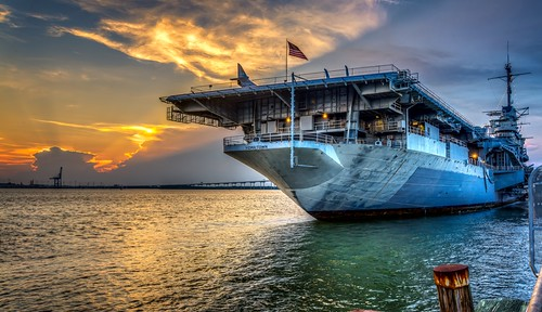 blue sunset orange sun green yellow clouds marina pier ship navy mountpleasant southcarolina americanflag charleston aircraftcarrier hdr topaz ussyorktown patriotspoint photomatix curtiscabana