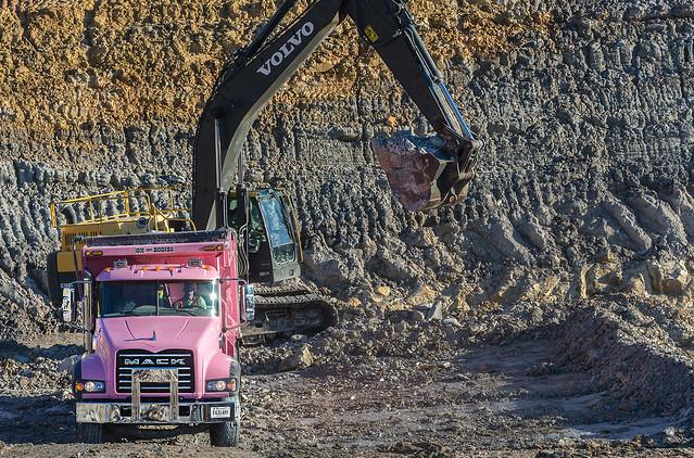 Mack Granite truck mining for kaolin clay in Huntingdon Tennessee