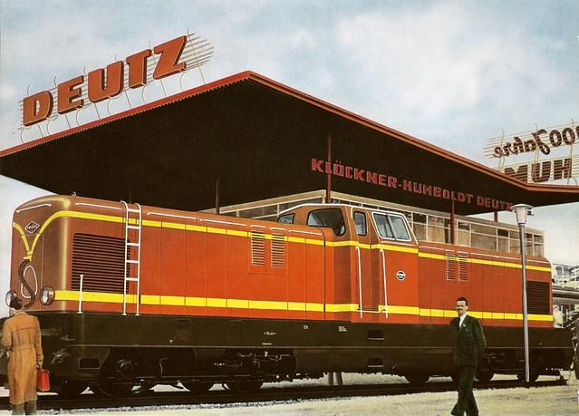 Werbung von KHD anlässlich der Messevorstellung des Dieselloktyps DG 2000 BBM im Jahr 1956