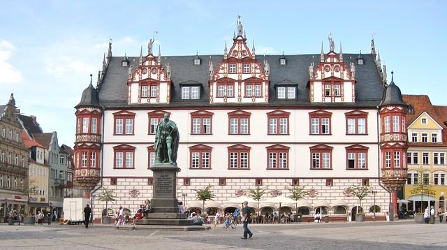 Coburg- Stadthaus behind Memorial Statue to Prince Albert