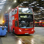 E79 emerges from the bus wash at Merton Bus Garage