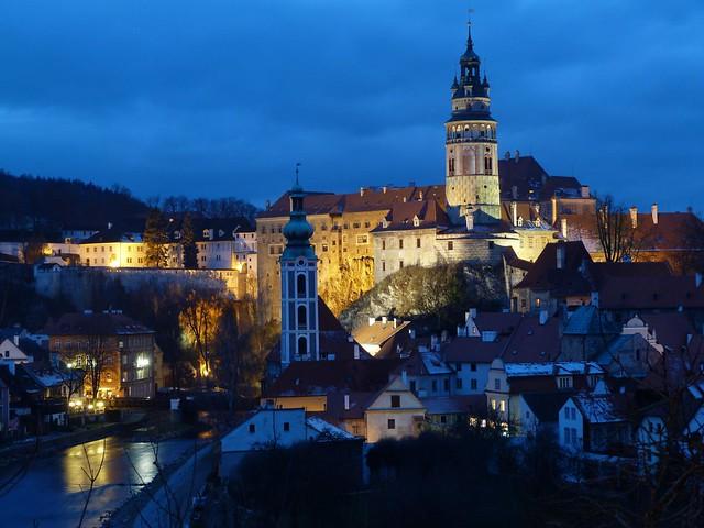 Hora azul con las mejores vistas de Cesky Krumlov en República Checa