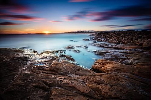 ocean longexposure sunset sea sky beach nature water colors fog clouds sunrise canon landscape coast rocks waves pacific head tide australia cliffs clear nsw eastcoast crowdy 2013 sunsetdusk canon6d