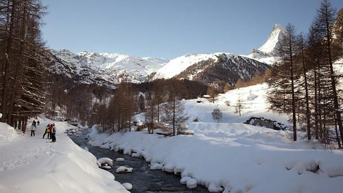 Snowy river in Zermatt