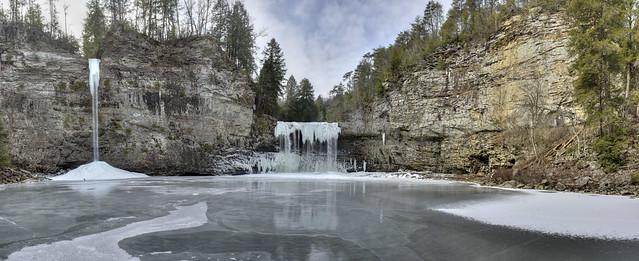 Rockhouse Falls and Cane Creek Falls frozen 2, Fall Creek Falls State Park, Van Buren County, Tennessee