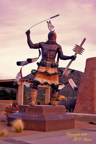 "plaza sunset sculpture mountains southwest art statue landscape twilight desert dusk nativeamerican museums hopi ""new kachina ""santa ""golden mexico"" ""magic fe"" hour"""