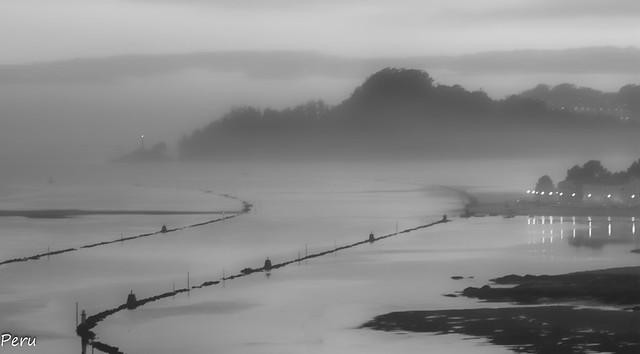 Ria de Pontevedra en blanco y niebla