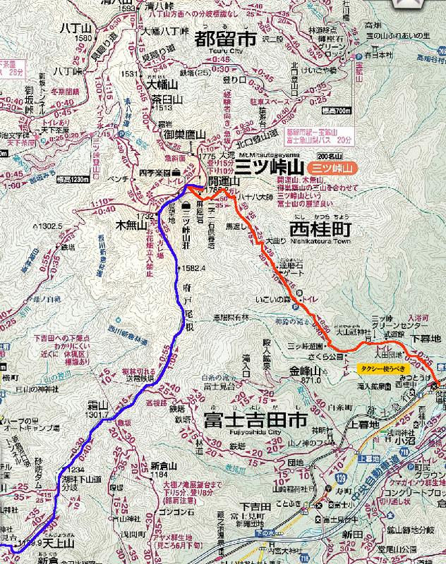 三つ峠山の地図