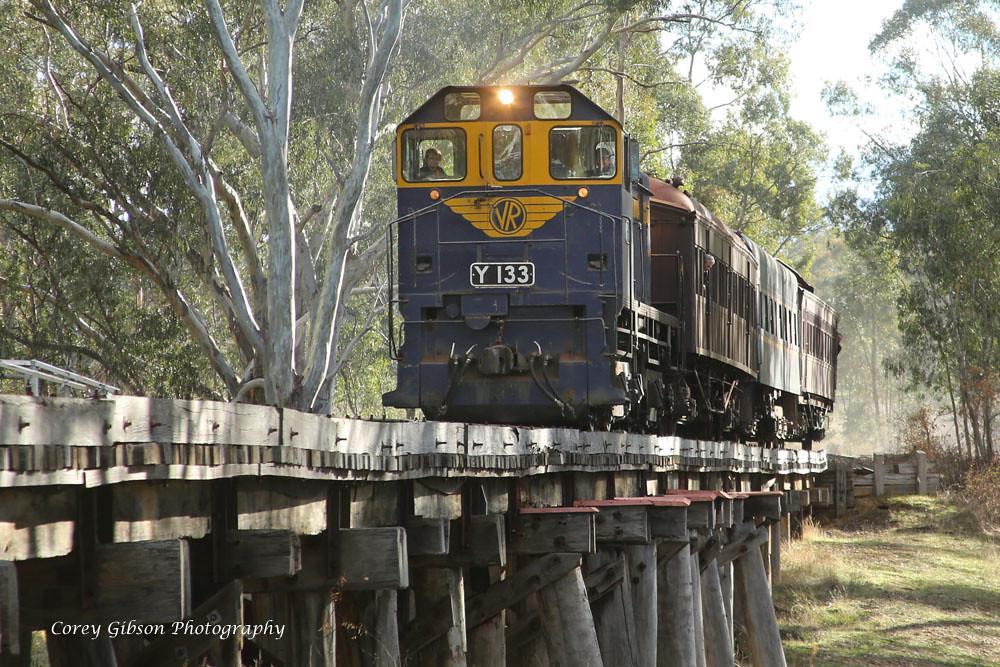 Victorian Goldfields Railway Y133 crossing Muckleford Creek by Corey Gibson