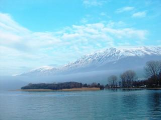 Galichitsa Mountain viewed across Ohrid Lake, Macedonia