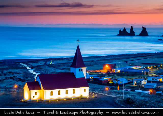 Iceland - Vík í Mýrdal & Church at Sunset