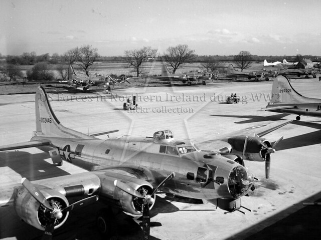 B-17's on flight test strip, Langford Lodge 1944
