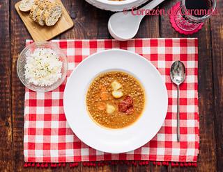 Lentejas caseras con arroz   by Corazón de Caramelo
