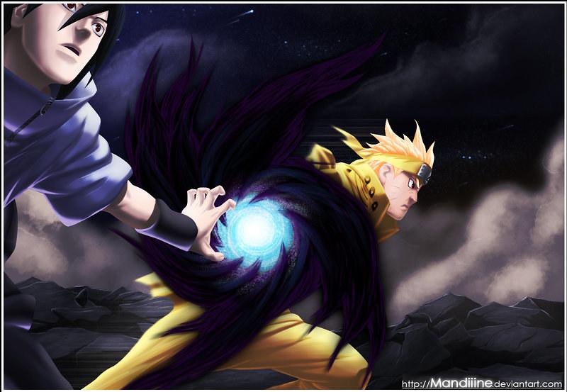 Naruto 641] Naruto & Sasuke : Amaterasu Rasengan | © Masash