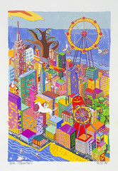 Manhattan Floating Silkscreen Artist Proof (painted by the artist) 4/10 Manhattan Floating with Red pinkus monster and Brown Tree (30 x 22 acrylic on paper)