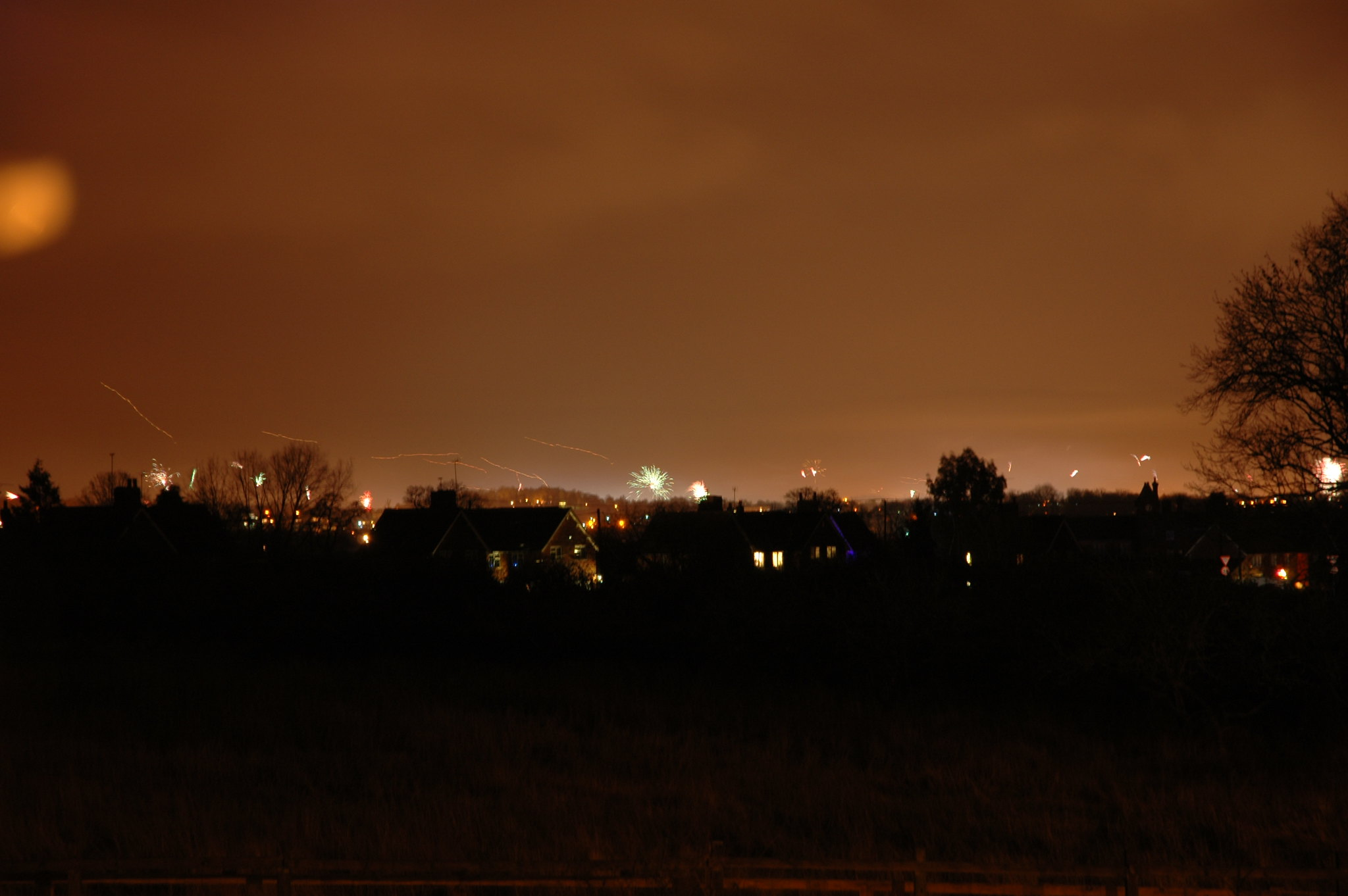 Fireworks over Reading, a moody nightscape.