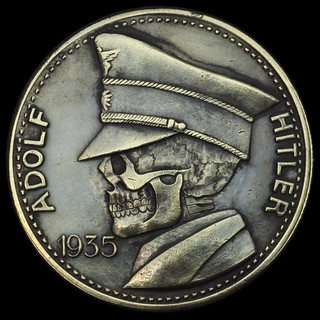 Adolf Hitler 1935 5 ReichMarks Skull Carving | Carved by Set