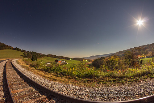 longexposure railroad moon night iso800 october maryland farmland full 20 curve seconds alleganycounty 2013 greatalleghenypassage canoneos7d helmstetters rokinon8mmf35fisheye cashvalleyroad