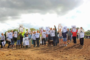 Protest against housing on the hill around Sharphill wood   by Guy R