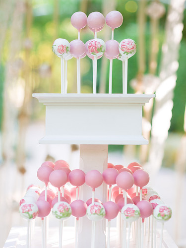 Pink Ombre Cake Pops in White Stand | by Sweet Lauren Cakes