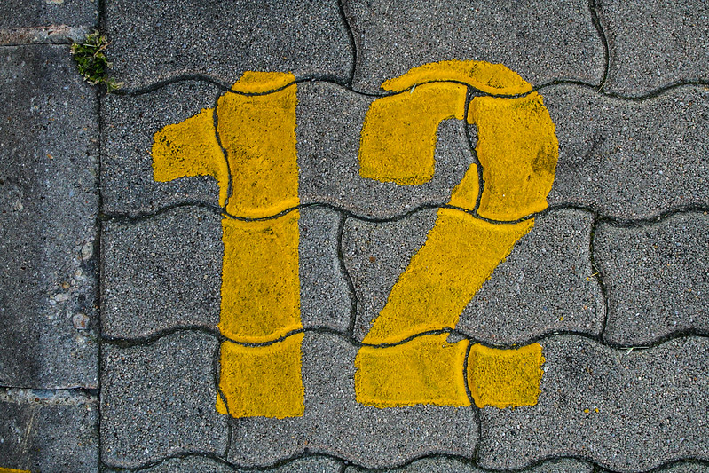 Yellow grunge number - 12