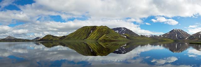 Reflections in a lake in Landmannalaugar, Iceland