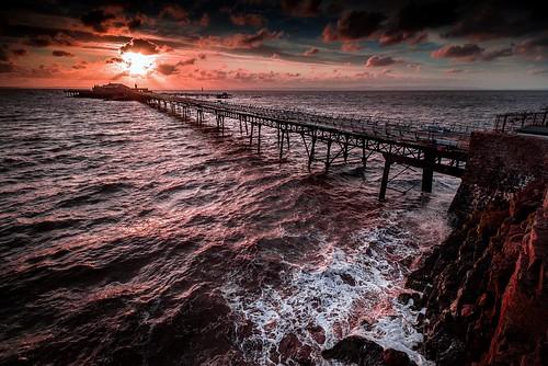 sunset sea pier high tide somerset westonsupermare brinbeck