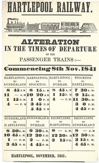 Hartlepool Doc and Railway timetable 1841 | by ian.dinmore
